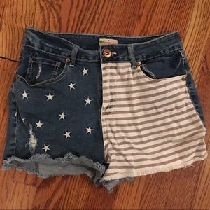 YMI flag distressed jean shorts